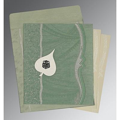 Green Wooly Embossed Wedding Card : CW-8210E - IndianWeddingCards