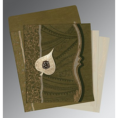 Green Wooly Embossed Wedding Invitations : CW-8210I - IndianWeddingCards