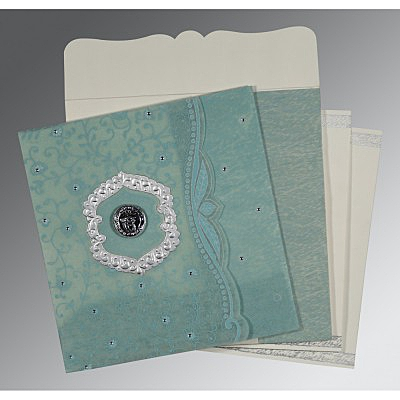 Green Wooly Floral Themed - Embossed Wedding Card : CS-8209F - IndianWeddingCards