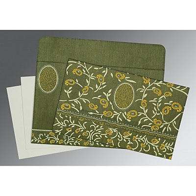 Green Wooly Floral Themed - Glitter Wedding Card : CD-8206D - IndianWeddingCards