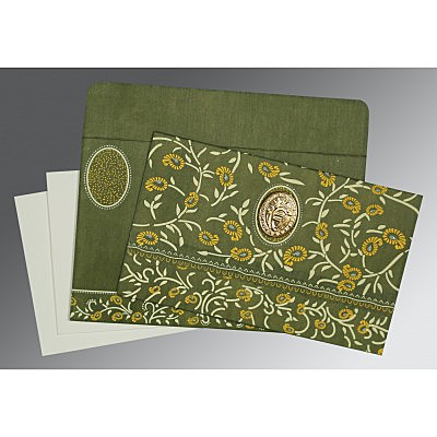 Green Wooly Floral Themed - Glitter Wedding Card : CS-8206D - IndianWeddingCards