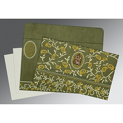 Green Wooly Floral Themed - Glitter Wedding Card : CW-8206D - IndianWeddingCards