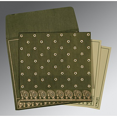 Green Wooly Floral Themed - Screen Printed Wedding Card : CG-8218A - IndianWeddingCards