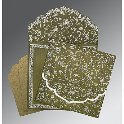 Green Wooly Floral Themed - Screen Printed Wedding Invitation : CS-8211M - IndianWeddingCards