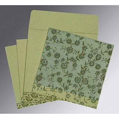 Green Wooly Floral Themed - Screen Printed Wedding Card : CW-8222G - IndianWeddingCards