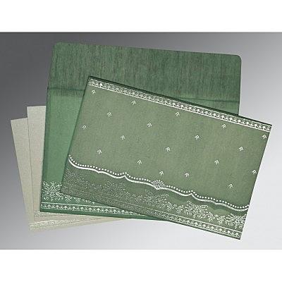 Green Wooly Foil Stamped Wedding Invitation : CC-8241C - IndianWeddingCards