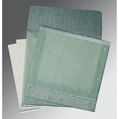 Green Wooly Foil Stamped Wedding Card : CG-8242K - IndianWeddingCards