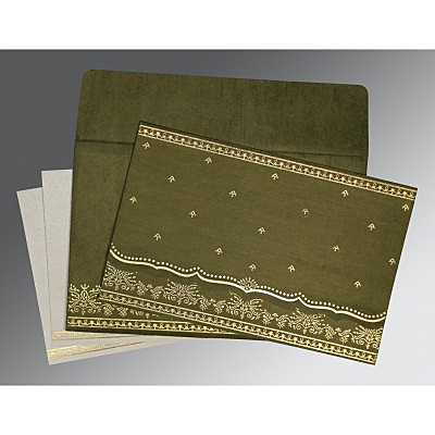 Green Wooly Foil Stamped Wedding Invitation : CS-8241L - IndianWeddingCards
