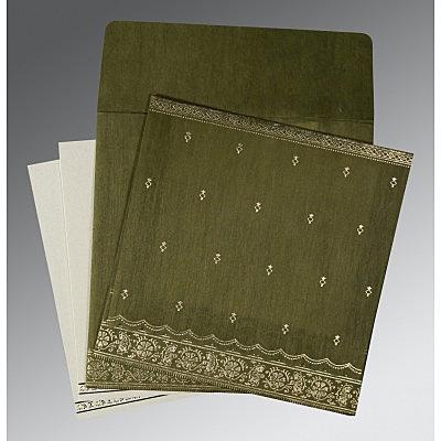 Green Wooly Foil Stamped Wedding Card : CS-8242O - IndianWeddingCards