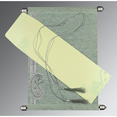 Green Wooly Foil Stamped Wedding Card : CSC-5015H - IndianWeddingCards