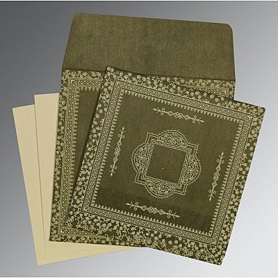 Green Wooly Glitter Wedding Card : CD-8205G - IndianWeddingCards