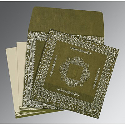 Green Wooly Glitter Wedding Invitations : CD-8205Q - IndianWeddingCards