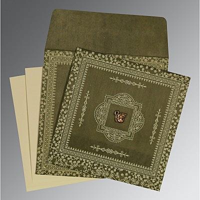 Green Wooly Glitter Wedding Card : CS-8205G - IndianWeddingCards