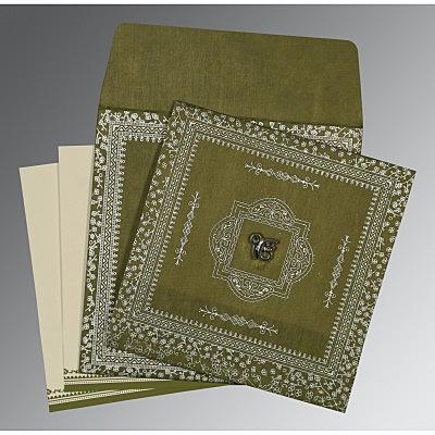 Green Wooly Glitter Wedding Card : CS-8205Q - IndianWeddingCards