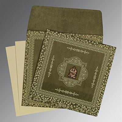 Green Wooly Glitter Wedding Card : CW-8205G - IndianWeddingCards