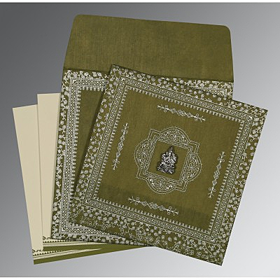 Green Wooly Glitter Wedding Card : CW-8205Q - IndianWeddingCards