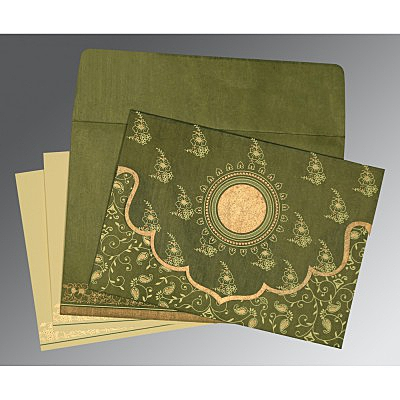 Green Wooly Screen Printed Wedding Invitations : CD-8207H - IndianWeddingCards