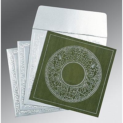 Green Wooly Screen Printed Wedding Card : CD-8214L - IndianWeddingCards