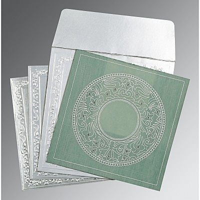 Green Wooly Screen Printed Wedding Card : CD-8214P - IndianWeddingCards