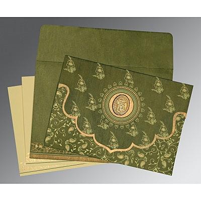 Green Wooly Screen Printed Wedding Invitation : CI-8207H - IndianWeddingCards