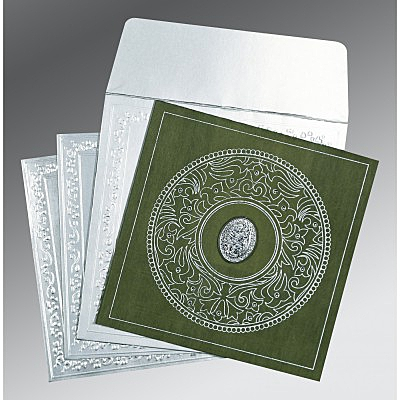 Green Wooly Screen Printed Wedding Card : CI-8214L - IndianWeddingCards