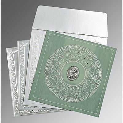 Green Wooly Screen Printed Wedding Card : CI-8214P - IndianWeddingCards
