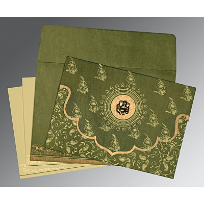 Green Wooly Screen Printed Wedding Invitation : CIN-8207H - IndianWeddingCards