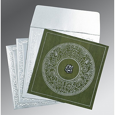 Green Wooly Screen Printed Wedding Card : CIN-8214L - IndianWeddingCards