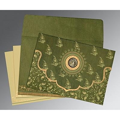 Green Wooly Screen Printed Wedding Invitation : CS-8207H - IndianWeddingCards