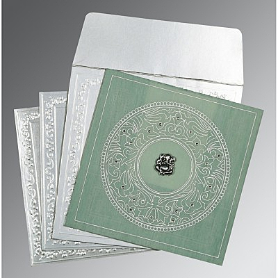 Green Wooly Screen Printed Wedding Card : CW-8214P - IndianWeddingCards