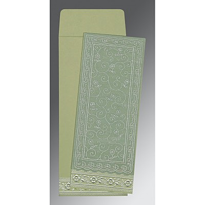 Green Wooly Screen Printed Wedding Invitation : CW-8220G - IndianWeddingCards