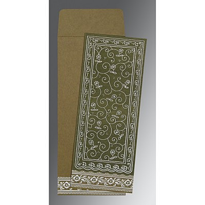 Green Wooly Screen Printed Wedding Invitations : CW-8220Q - IndianWeddingCards