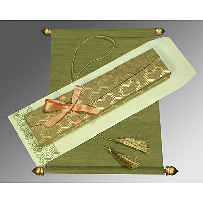 Green Wooly Wedding Card : CSC-5014A