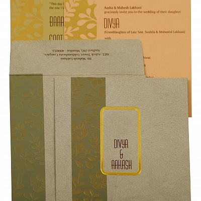Grey Matte Floral Themed - Foil Stamped Wedding Invitation : CI-1883 - IndianWeddingCards