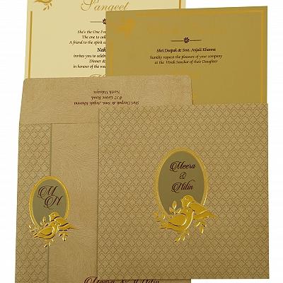 Grey Matte Foil Stamped Wedding Invitation : CC-1885 - IndianWeddingCards
