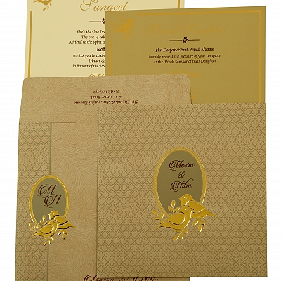 Grey Matte Foil Stamped Wedding Invitation : CI-1885 - IndianWeddingCards