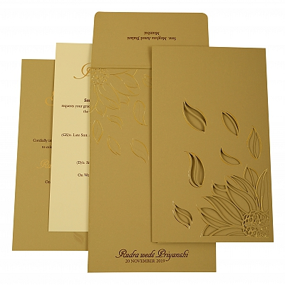 Grey Matte Laser Cut Wedding Invitation : CI-1925 - IndianWeddingCards