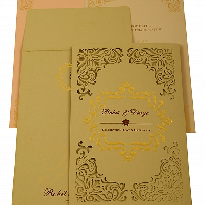 Grey Matte Laser Cut Wedding Invitation : CW-1908 - IndianWeddingCards