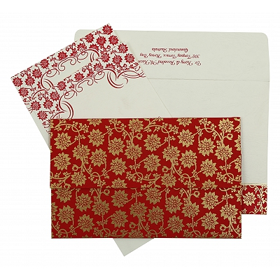 Hot Pink Matte Floral Themed - Screen Printed Wedding Invitation : CC-810B - IndianWeddingCards