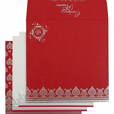 Hot Pink Matte Screen Printed Wedding Invitation : CRU-809B - IndianWeddingCards