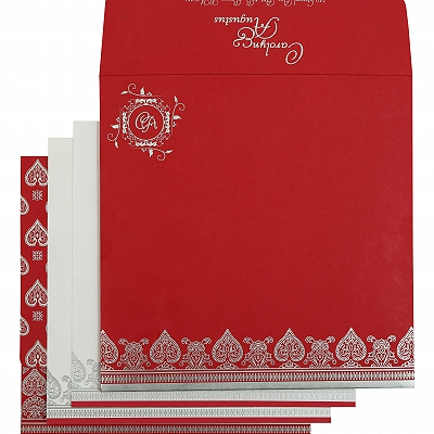 Hot Pink Matte Screen Printed Wedding Invitation : CS-809B - IndianWeddingCards