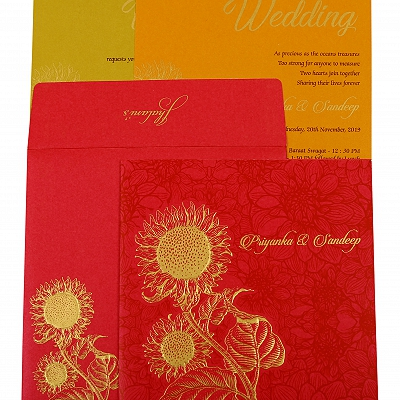 Hot Pink Shimmery Floral Themed - Embossed Wedding Invitation : CD-1898 - IndianWeddingCards