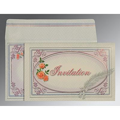 Ivory Embossed Wedding Card : CRU-1327 - IndianWeddingCards