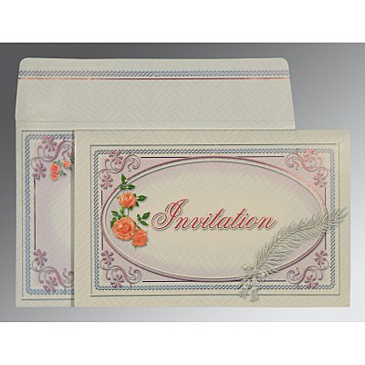 Ivory Embossed Wedding Card : CSO-1327 - IndianWeddingCards