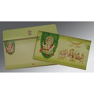 Ivory Embossed Wedding Card : CW-2226 - IndianWeddingCards