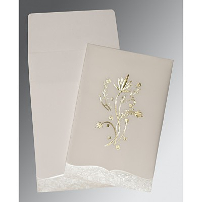 Ivory Floral Themed - Foil Stamped Wedding Invitations : CW-1495 - IndianWeddingCards