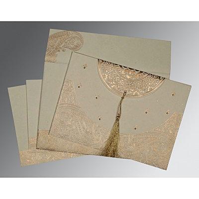 Ivory Handmade Cotton Embossed Wedding Card : CS-8234B - IndianWeddingCards