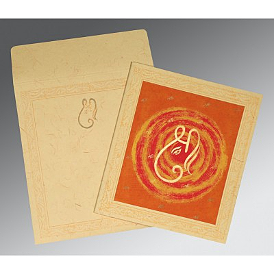 Ivory Handmade Cotton Embossed Wedding Card : CW-2162 - IndianWeddingCards