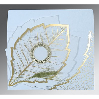 Ivory Handmade Cotton Floral Themed - Foil Stamped Wedding Card : CW-8219H - IndianWeddingCards