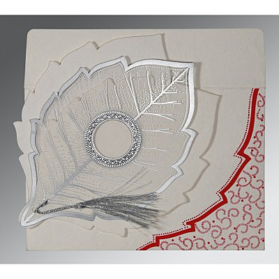 Ivory Handmade Cotton Floral Themed - Foil Stamped Wedding Card : CW-8219L - IndianWeddingCards
